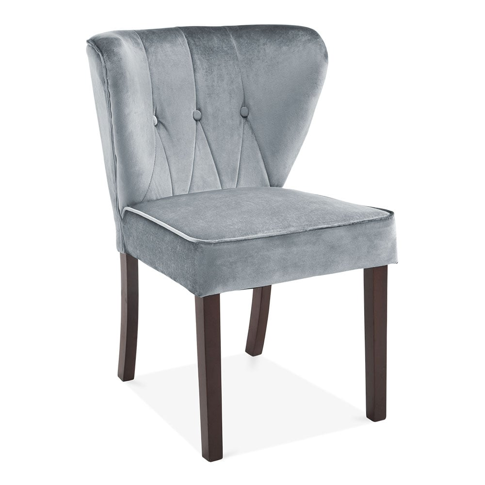 Cult Living Chancery Wingback Dining Chair Velvet Upholstered Grey