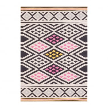 100% Cotton Aztec Diamond Moroccan Kilim Rug, Black Multi