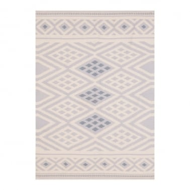 100% Cotton Aztec Diamond Moroccan Kilim Rug, Grey