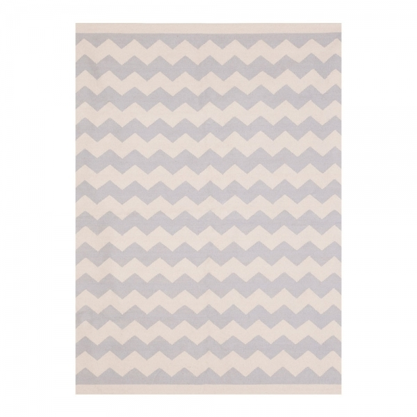 Grey Zig Zag Woven Kilim Cotton Rug