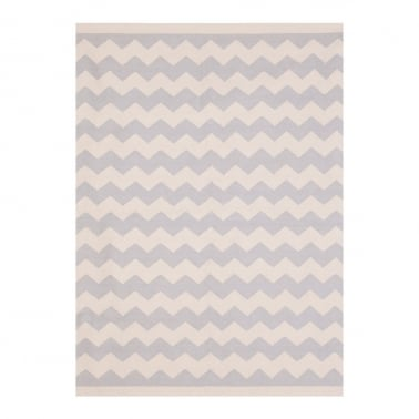 100% Cotton Zig Zag Kilim Rug, Grey