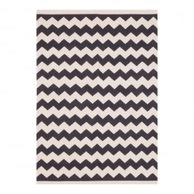 100% Cotton Zig Zag Woven Kilim Rug, Black