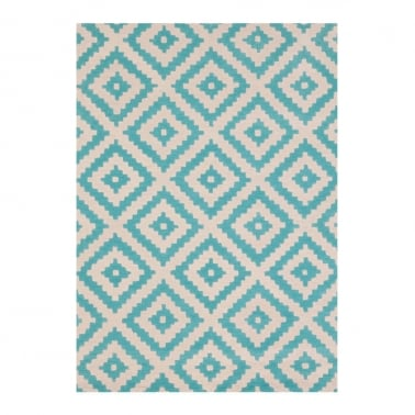 100% Wool Aztec Diamond Hand Tufted Rug, Aqua