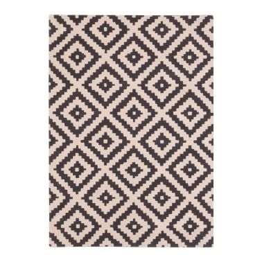 100% Wool Aztec Diamond Hand Tufted Rug, Black