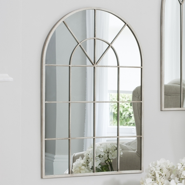 Abbey Window Style Arched Wall Mirror Cream