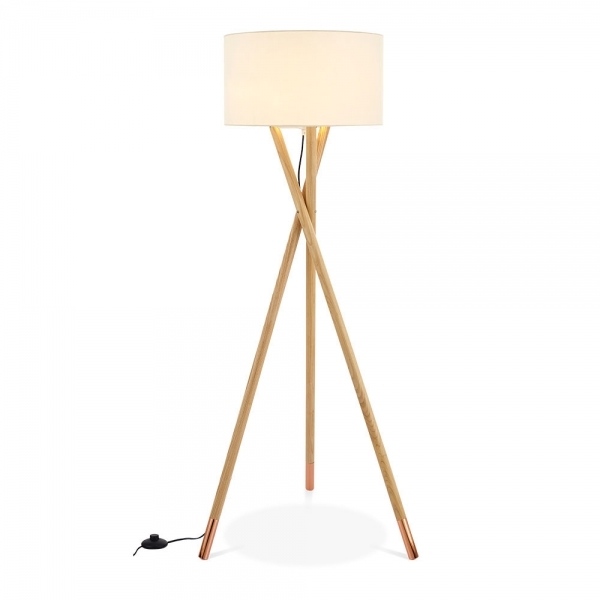 Natural Amp Gold Albany Wooden Tripod Floor Lamp Modern