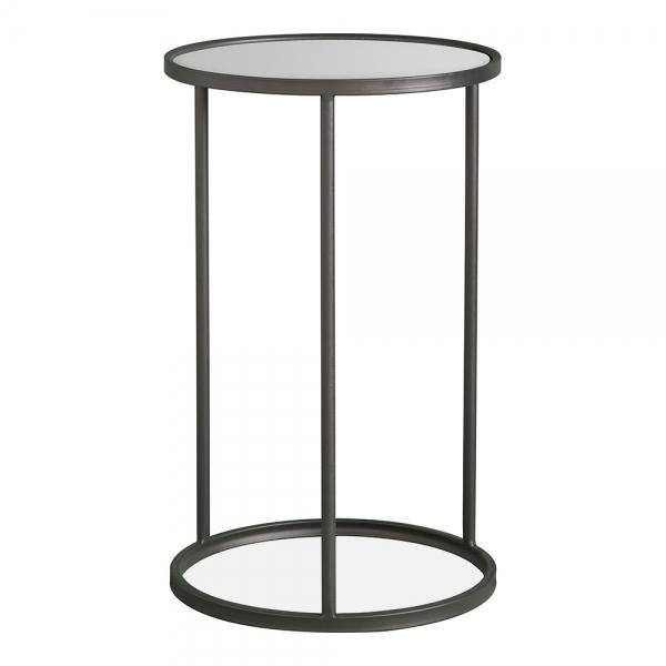 Black Metal Glass Albi Side Table Industrial Tables - Black Metal Narrow End Table