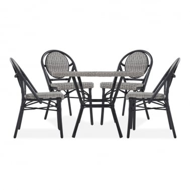 Albion 5 Piece Outdoor Dining Set, Grey Rattan