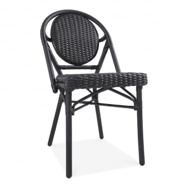 Albion Outdoor Dining Chair, Black Rattan