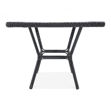 Albion Outdoor Dining Table, Black Rattan