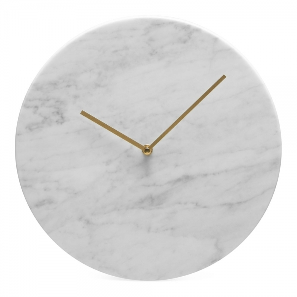 Round White Marble Alder Wall Clock Contemporary Wall Clocks