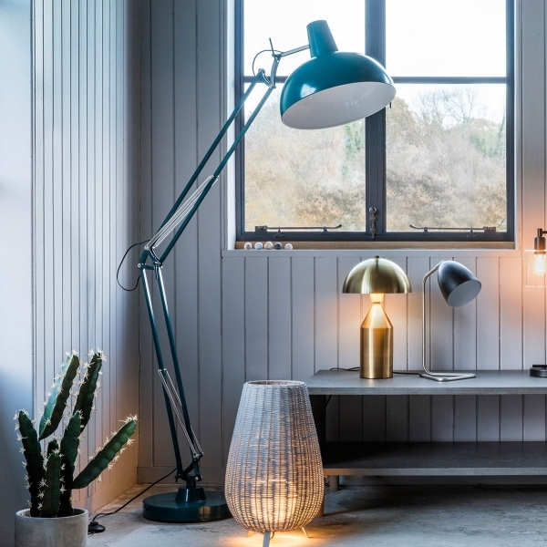Aldwych retro hinged floor lamp teal contemporary lighting aldwych retro giant hinged floor lamp teal mozeypictures Image collections