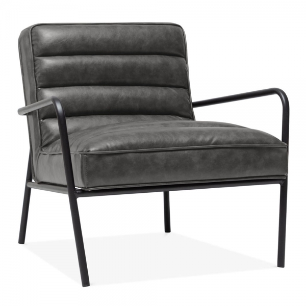 Groovy Alice Armchair Faux Leather Upholstered Vintage Grey Alphanode Cool Chair Designs And Ideas Alphanodeonline