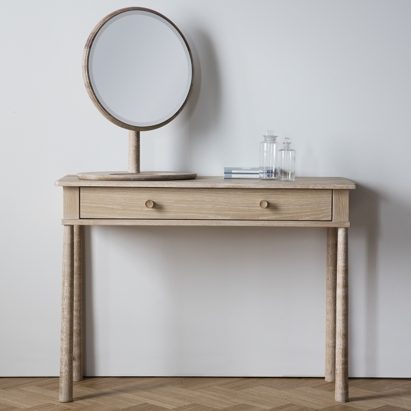 Alpine Round Dressing Table Mirror, Solid Oak