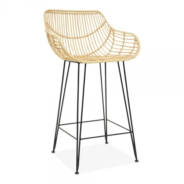 Marvelous Amina Woven Rattan Bar Stool With Backrest Natural 66Cm Machost Co Dining Chair Design Ideas Machostcouk