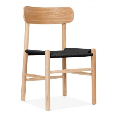 Anders Dining Chair, Solid Beech Wood & Black Rattan Seat, Natural