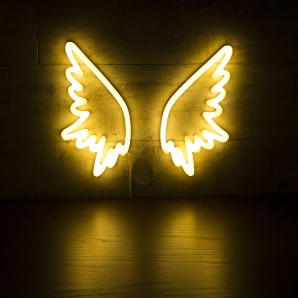White angel wings neon wall light retro neon sign light cult living angel wings neon sign wall light white aloadofball Image collections