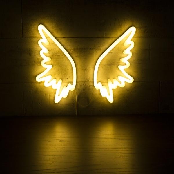 White angel wings neon wall light retro neon sign light cult living angel wings neon sign wall light white aloadofball Images