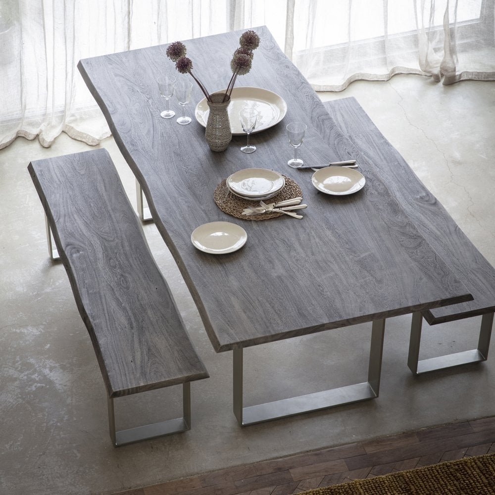 Grey Wood Metal Aosta Dining Table 240cm Dining Tables