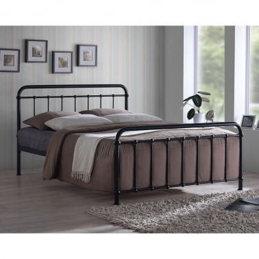 Arabella Metal Hospital Style King Size Bed, Black