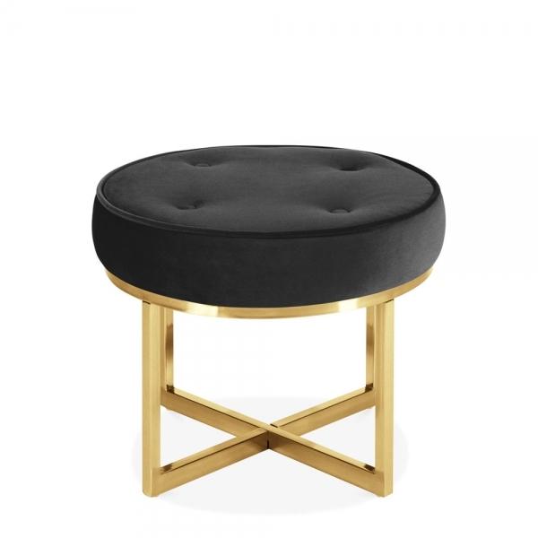 Arcadia Gold Framed Velvet Foot Stool Modern Velvet Furniture