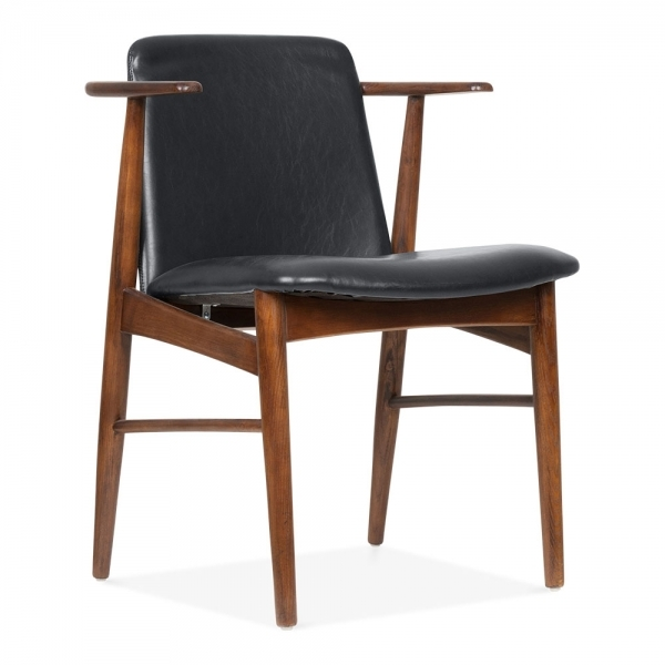 Cult Living Archie Wooden Dining Armchair, Black Faux Leather, Walnut Finish