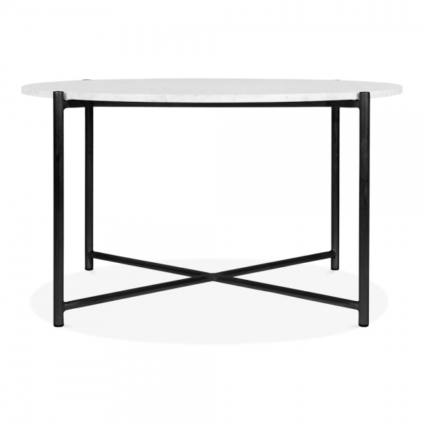 Kimball Marble Coffee Table: White Marble Aria Round Coffee Table Black