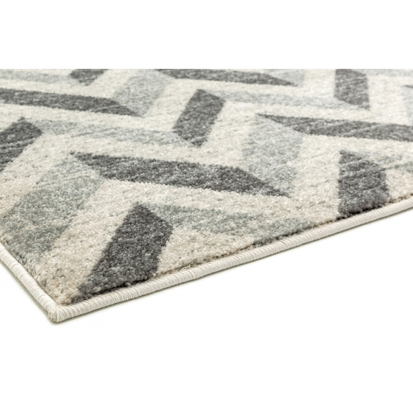 Rebel Grey Chevron Pattern Floor Rug