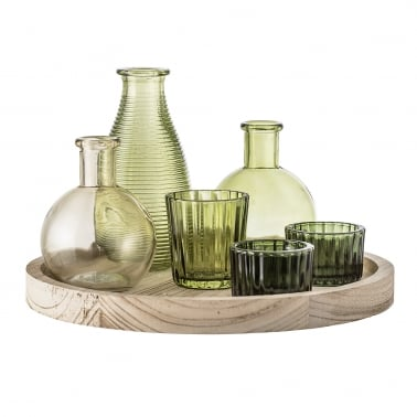 Assorted 7 Piece Candle Holder and Vase Set with Wood Tray, Green