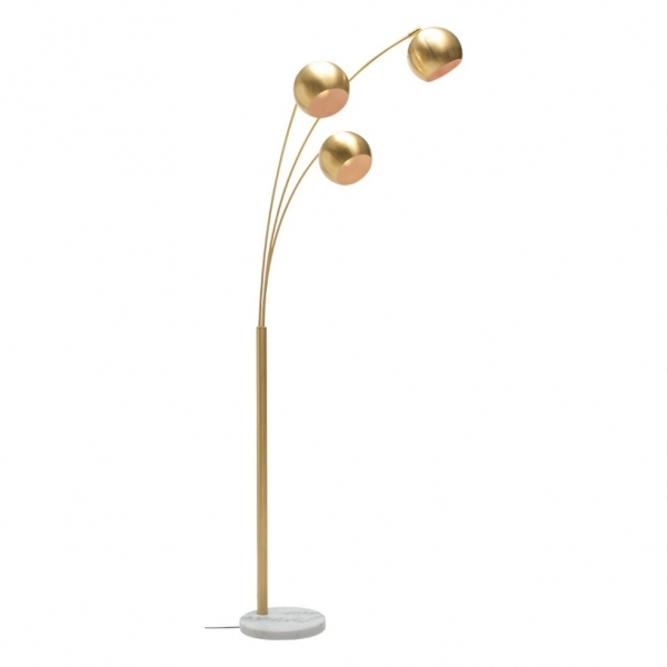 Brushed Gold Astral Triple Head Marble Floor Lamp Modern Lighting
