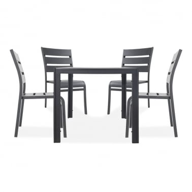 Atlanta 5 Piece Outdoor Dining Set, Black Polywood
