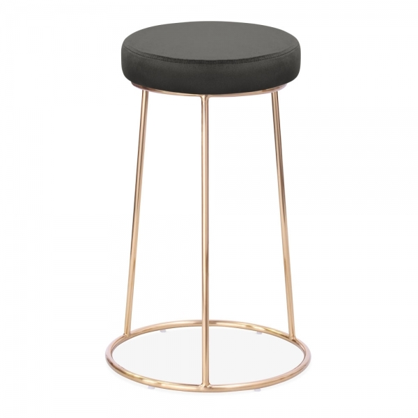 Magnificent Austen Round Bar Stool Velvet Upholstered Charcoal Grey 66Cm Theyellowbook Wood Chair Design Ideas Theyellowbookinfo