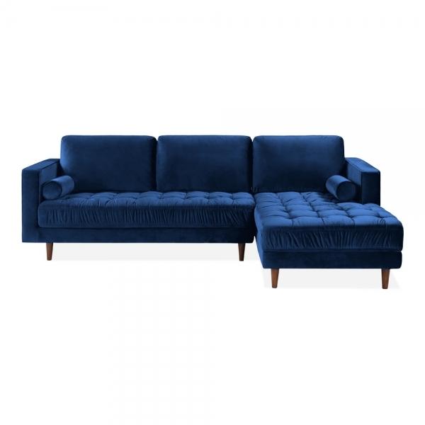 Royal Blue Velvet Upholstered Avia Left Hand Corner Sofa