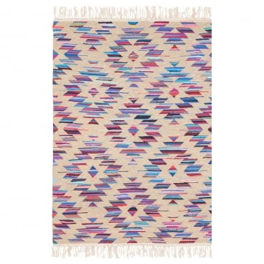 Aztec Navajo Flat-Woven Kilim Rug, Multi-Coloured