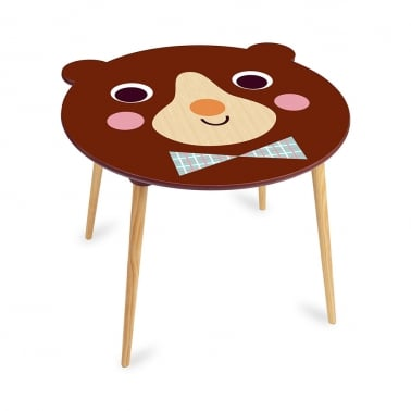 Baloo Bear Kids Wooden Table, Natural and Brown