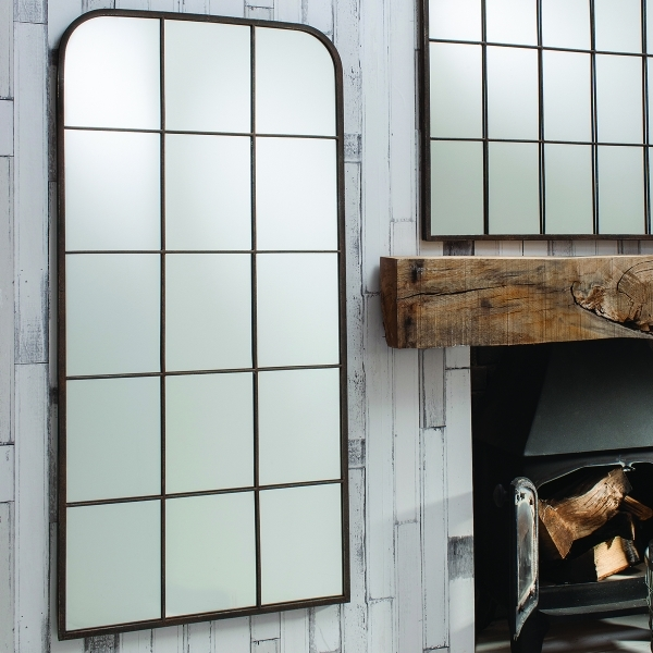 Bancroft Window Style Industrial Metal Mirror Rustic Modern Mirrors