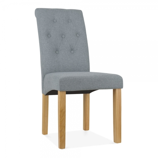 Belgrave High Back Dining Room Chair Fabric Button Detail Grey