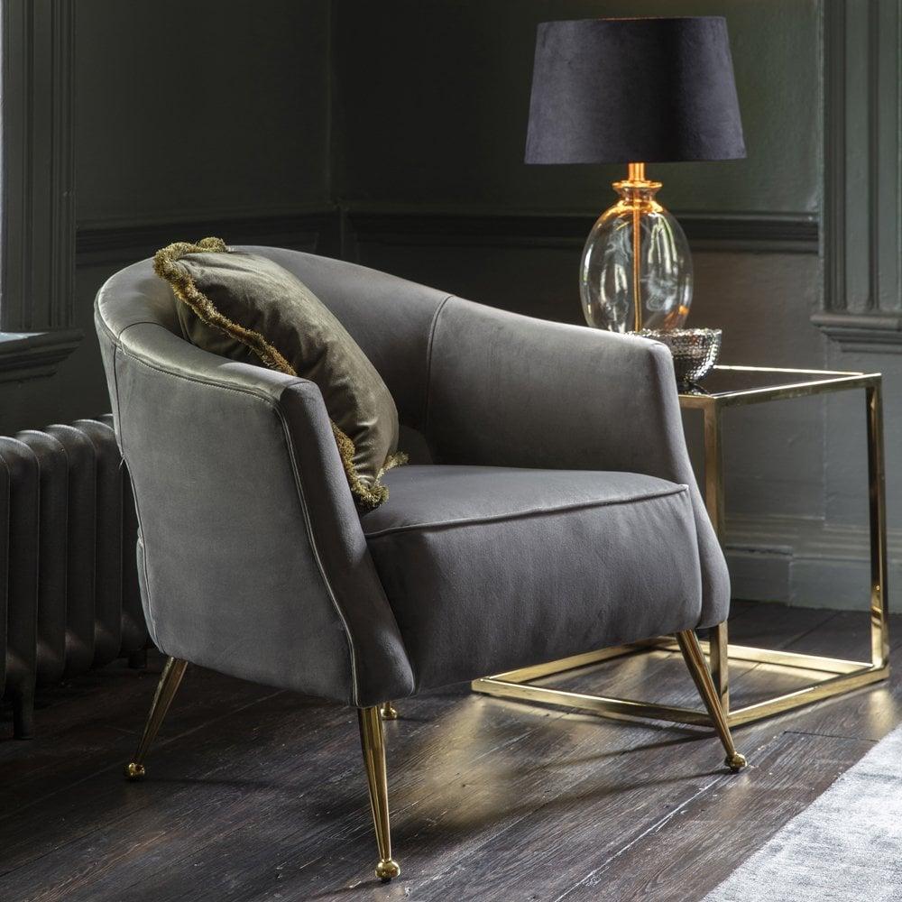 Bella Armchair, Velvet Upholstered, Grey