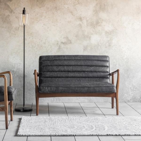 Black Leather Upholstered 2 Seat Sofa