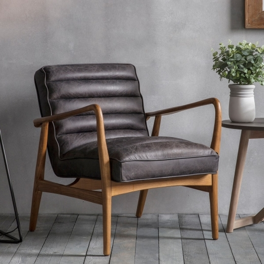 Berkeley Black Leather Upholstered Armchair | Modern Home ...