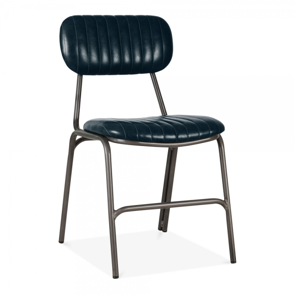 Blue Faux Leather Boston Metal Dining Chair Modern Dining Chairs