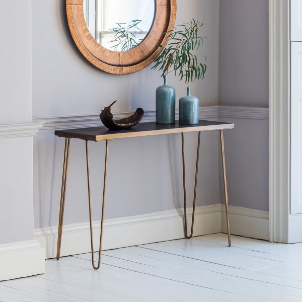 Bronx Geometric Tiled Console Table Gold Contemporary