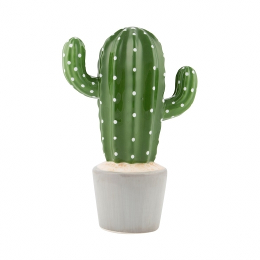 Sass & Belle Cactus Shaped Money Box, Dolomite, Green