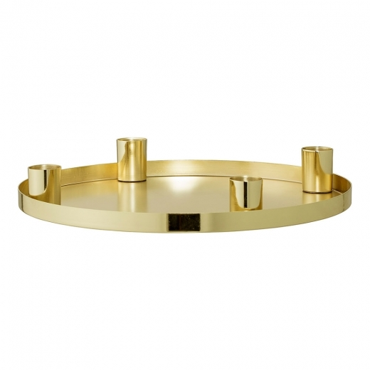 Bloomingville Candle Holder with Metal Tray, Gold