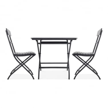 Carnaby 3 Piece Foliding Patio Set, Black Polywood