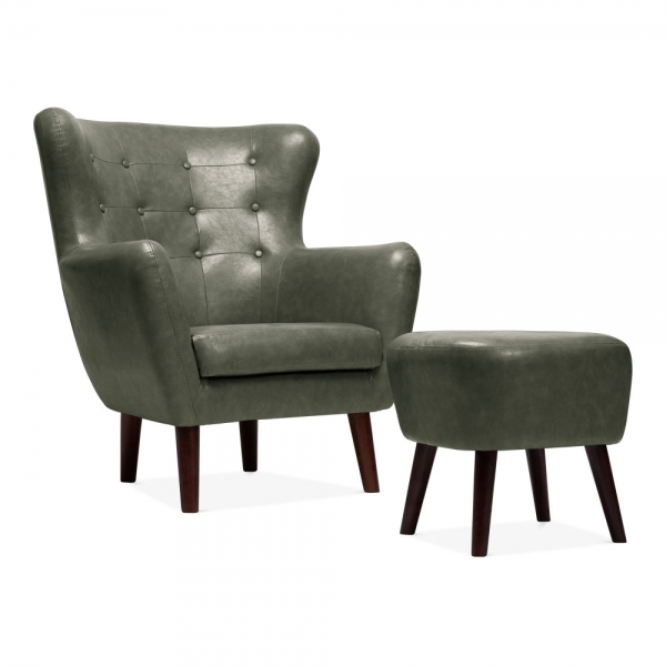 Cult Living Carter Wingback Armchair with Footstool, Faux Leather Upholstered, Green