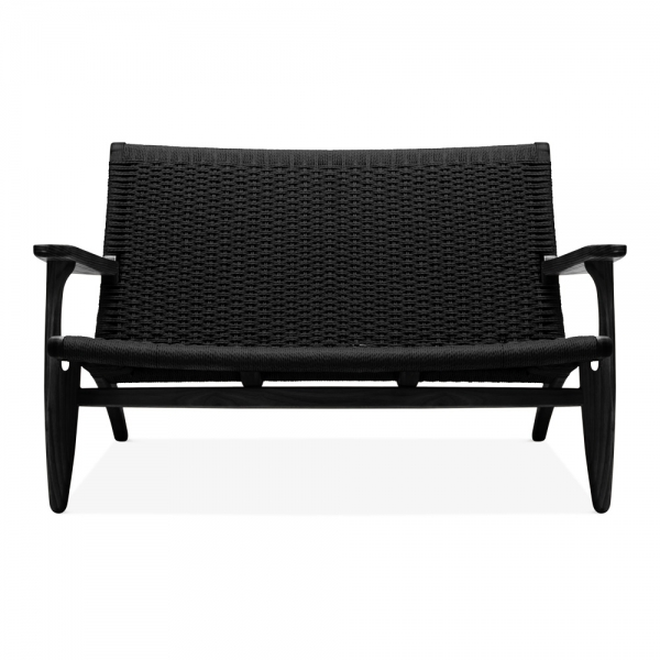 Swell Ch25 Style 2 Seater Loveseat Black Weave Seat Black Spiritservingveterans Wood Chair Design Ideas Spiritservingveteransorg