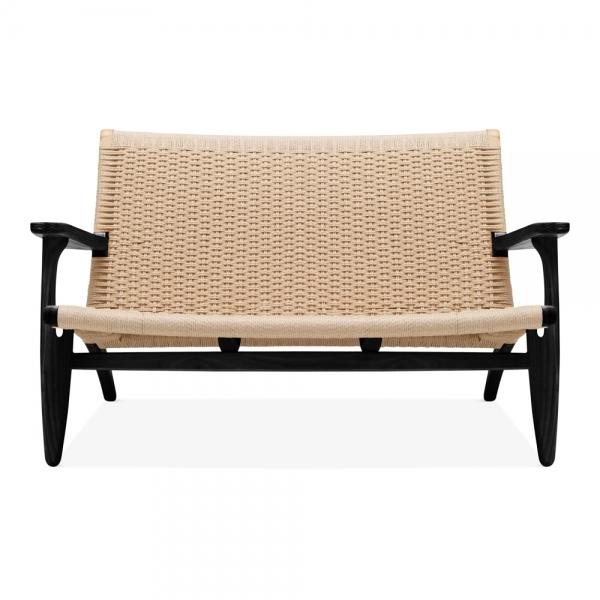 Strange Ch25 Style 2 Seater Loveseat Natural Weave Seat Black Spiritservingveterans Wood Chair Design Ideas Spiritservingveteransorg