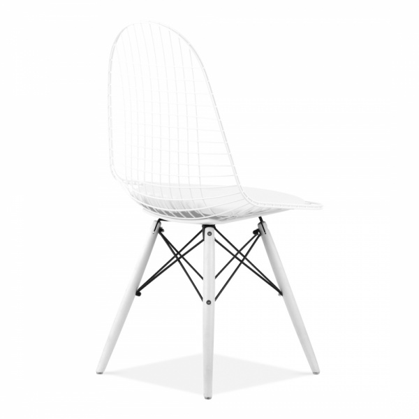 Eames style white dkr wire chair modern dining chair cult uk eames inspired white dkr wire chair with wood legs greentooth Images