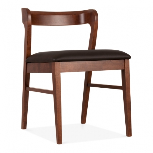 Cult Living Chiswick Wooden Dining Chair, Black Faux Leather, Walnut Finish